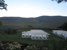 Wedding ceremony at Hildene overlooking the Green Mountains
