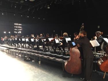 Six 1st Violins, six 2nd violins, three cellos, three contra-bass