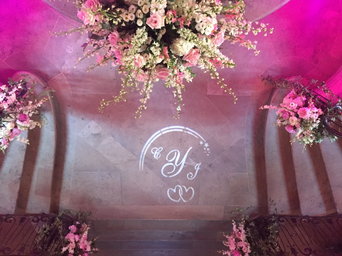 wedding couple's intials in a GOBO light NYC DJ